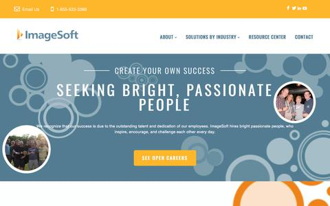 Screenshot of Jobs Page imagesoftinc.com - ImageSoft | Land a Career Not a Job - captured Jan. 12, 2018