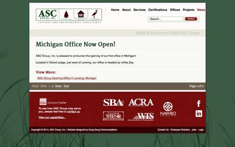 Screenshot of Press Page ascgroup.net - News - captured Oct. 4, 2014