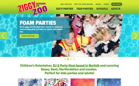 Screenshot of Home Page ziggyzoo.co.uk - Ziggy Zoo, Essex-based Kid's Entertainer, DJ & Party Host - captured Nov. 28, 2016