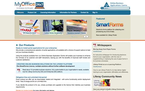 Screenshot of Home Page myoffice24x7.com - Welcome - Business Applications Marketplace - MyOffice24x7 - captured Oct. 9, 2014