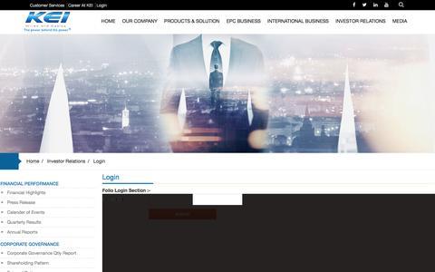 Screenshot of Login Page kei-ind.com - Login | KEI-IND - captured Nov. 27, 2016