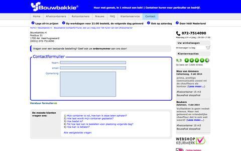 Screenshot of Contact Page bouwbakkie.nl - Bouwbakkie.nl - Bouwbakkie Contactformulier, stel uw vraag over het huren van een afvalcontainer - captured Oct. 5, 2014