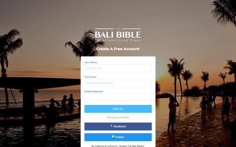 Screenshot of Signup Page thebalibible.com - Sign Up | The Bali Bible - captured Feb. 4, 2018