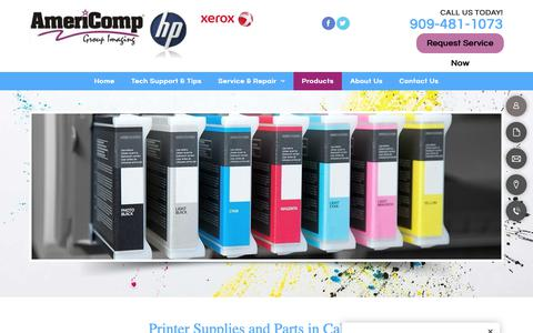 Screenshot of Products Page americompgroup.com - Printer Supplies & Parts | Alta Loma, CA | Americomp Group - captured Oct. 3, 2018
