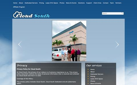 Screenshot of Privacy Page cloudsouth.com - Privacy �  Cloud South - captured Dec. 9, 2015