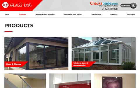 Screenshot of Products Page kbglass.co.uk - Products | KB Glass - captured July 20, 2018