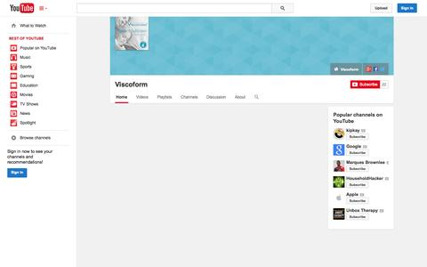 Screenshot of YouTube Page youtube.com - Viscoform  - YouTube - captured Oct. 26, 2014