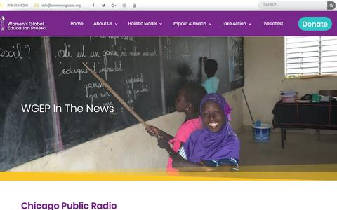 Screenshot of Press Page womensglobal.org - WGEP In The News - Women's Global Education Project - captured Oct. 18, 2018