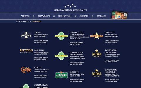 Screenshot of Locations Page greatamericanrestaurants.com - Locations   gar - captured May 23, 2017