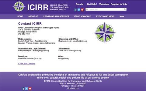 Screenshot of Contact Page icirr.org - Icirr | CONTACT US - captured Nov. 14, 2018