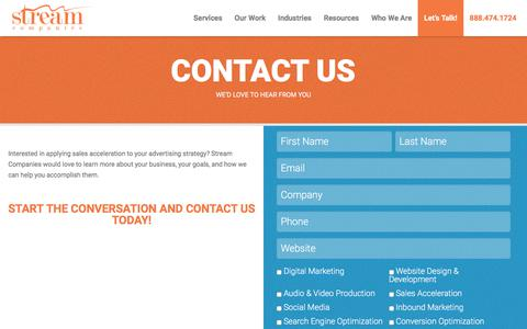 Screenshot of Contact Page streamcompanies.com - Contact Us - Stream Companies - captured Nov. 11, 2017