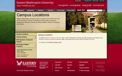 Screenshot of Locations Page ewu.edu - EWU | Campus Locations - captured Sept. 19, 2014