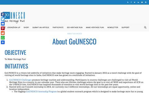 Screenshot of About Page gounesco.com - About GoUNESCO - GoUNESCO - Make Heritage Fun! - captured Nov. 7, 2019