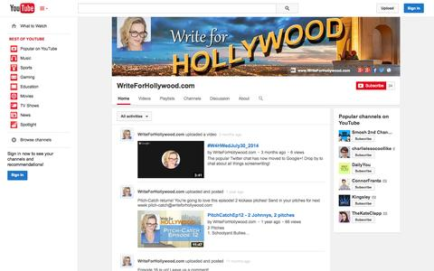 Screenshot of YouTube Page youtube.com - WriteForHollywood.com  - YouTube - captured Oct. 29, 2014