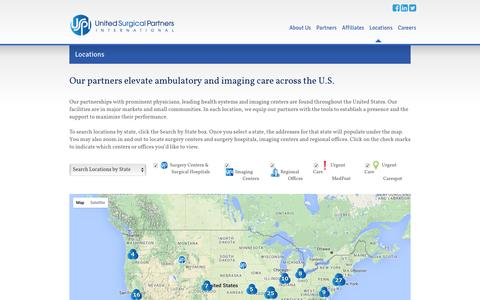 Screenshot of Locations Page uspi.com - Locations   United Surgical Partners - captured Feb. 26, 2016