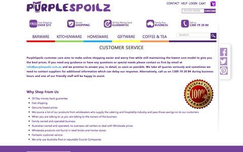 Screenshot of Support Page purplespoilz.com.au - Customer Service - captured Dec. 14, 2015