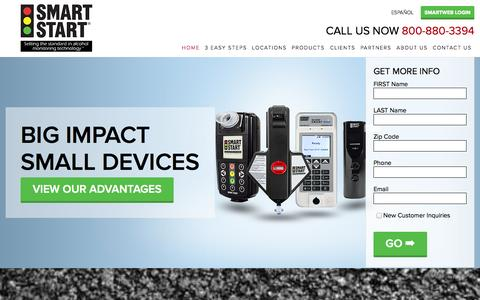 Screenshot of Home Page smartstartinc.com - Smart Start® - Ignition Interlock Devices & Home Alcohol Monitoring Systems - captured Oct. 7, 2014