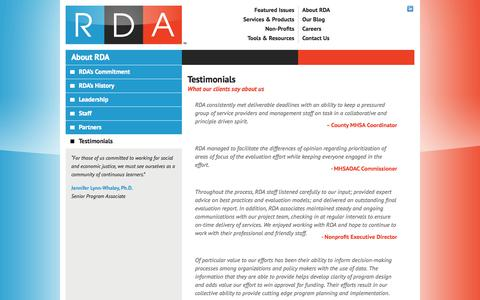 Screenshot of Testimonials Page resourcedevelopment.net - Testimonials - Resource Development Associates - captured Oct. 8, 2014