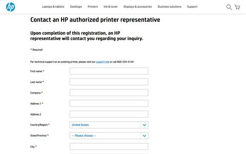 Screenshot of Landing Page hp.com - Contact an HP authorized printer representative - captured Aug. 25, 2016