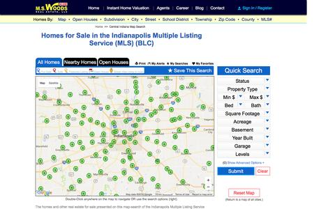 Screenshot of Maps & Directions Page mswoods.com - Indianapolis Multiple Listing Service - MLS Map Search - captured Nov. 29, 2016