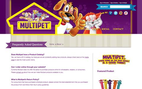 Screenshot of FAQ Page multipet.com - Frequently Asked Questions | Pet Toys, Dog Toys - Multipet International Pet Toys - captured Oct. 9, 2014