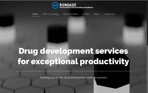 Screenshot of Home Page rondaxe.com - Rondaxe – Solutions for Drug Development, Manufacturing and Regulatory activities - captured Dec. 3, 2016