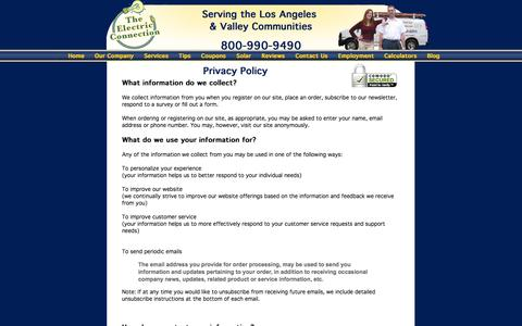 Screenshot of Privacy Page theelectricconnection.com - The Electric Connection, About Los Angeles, CA Electrician - captured Oct. 26, 2014