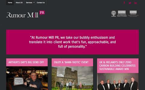 Screenshot of Home Page rumourmillpr.co - Rumour Mill PR - captured Oct. 7, 2014