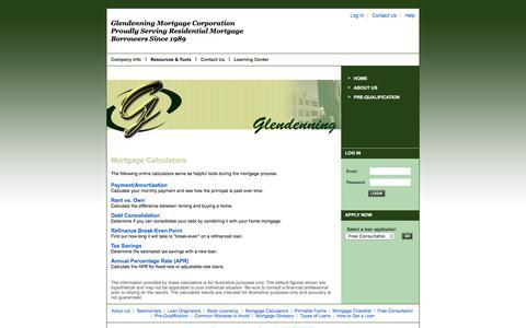 Screenshot of Menu Page glendenning.com - Glendenning Mortgage Corporation NMLS# 209086 : Mortgage Calculators - captured Nov. 7, 2016