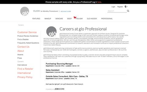 Screenshot of gloprofessional.com - Find a List of Jobs at glo Professional - captured Oct. 3, 2015