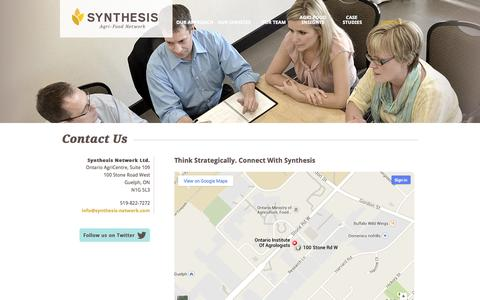 Screenshot of Contact Page synthesis-network.com - Contact Us | Synthesis Agri-Food Network - captured Oct. 6, 2014