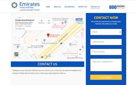 Screenshot of Contact Page emirateshomenursing.ae - Contact Us - Emirates Home Nursing - captured Sept. 5, 2019