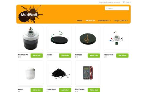 Screenshot of Products Page mudwatt.com - Store – MudWatt - captured Nov. 3, 2014