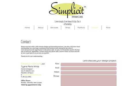 Screenshot of Contact Page simplicitinteriors.com - Contact Simplicit Interiors - captured Dec. 3, 2016