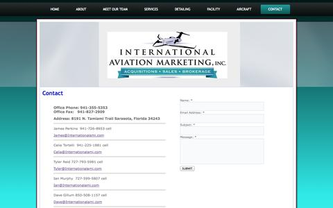 Screenshot of Contact Page internationalami.com - Contact International Aviation Marketing | Aircraft Sales Acquisitions Lease - captured Nov. 3, 2014