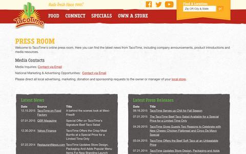 Screenshot of Press Page tacotime.com captured Dec. 24, 2015