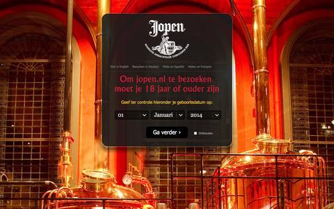 Screenshot of Home Page jopen.nl - Jopen Bier - Historisch bier uit Haarlem - captured Oct. 6, 2014
