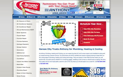 Screenshot of Home Page anthonyphc.com - Kansas City Air Conditioning Repair | Furnace Repair | Plumbing Repair | Anthony Plumbing Heating Cooling - captured Oct. 4, 2014
