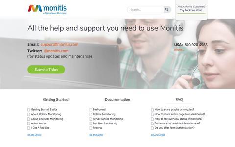 Screenshot of Support Page monitis.com - » Getting Started, FAQ, & Documentation  Support - Monitis - captured Nov. 16, 2019