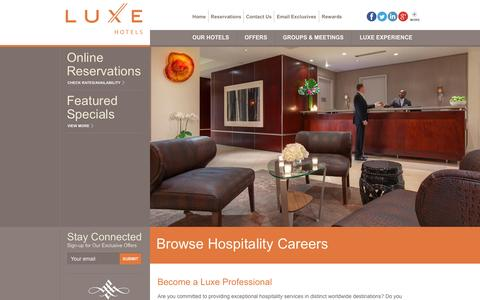 Screenshot of Jobs Page luxehotels.com - Luxury Hospitality Careers | Boutique Hotel Jobs | Luxe Hotels - captured Sept. 24, 2014