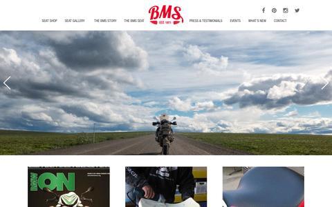 Screenshot of Home Page billmayer-saddles.com - Bill Mayer Saddles - BMS Custom Motorcycle Seats by Rocky Mayer - captured Feb. 7, 2016