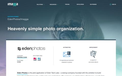 Screenshot of Case Studies Page imagga.com - Case-study: Eden Photos uses Imagga's auto-tagging API to index your personal photos and provide search and categorization capabilities across all Apple devices connected to iCloud account. | Imagga Technologies Ltd. - captured June 21, 2018