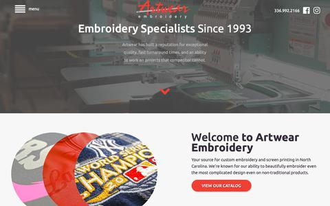 Screenshot of Home Page artwearinc.com - Custom Embroidery and Screen Printing | North Carolina - captured Oct. 4, 2018