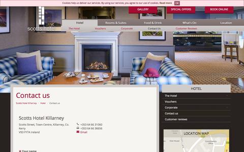 Screenshot of Contact Page scottshotelkillarney.com - Contact the Scotts Hotel in Killarney | Contact Details Page - captured Sept. 21, 2018