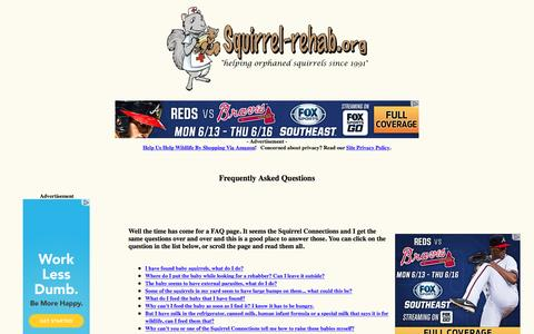 Screenshot of FAQ Page squirrel-rehab.org - Squirrel Wildlife Rehabilitation FAQ - captured June 14, 2016