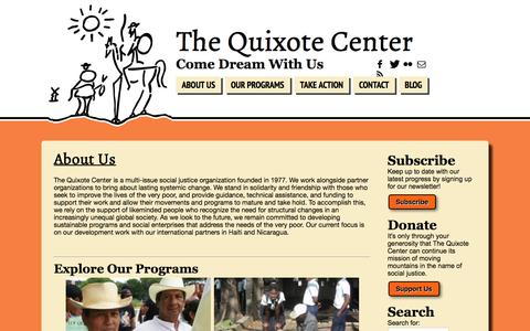 Screenshot of About Page quixote.org - About Us  | The Quixote Center - captured Nov. 16, 2016