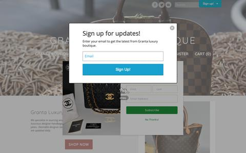 Screenshot of Home Page grantaboutique.com - Granta luxury boutique - Welcome to Granta Luxury Boutique, the great source of resale of designer brand handbags, purses and accessories at a low price.  We have been in consignment business for more than 30 years in NYC. - captured Nov. 2, 2018