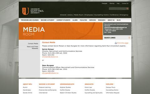 Screenshot of Press Page ustpaul.ca - Media Room - Contact media - captured Nov. 18, 2016