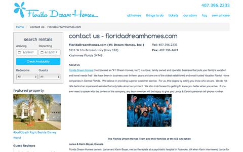 Screenshot of About Page Contact Page floridadreamhomes.com - Contact Information - Vacation Rentals in Disney World - FloridaDreamHomes.com - captured June 6, 2017