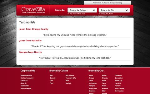 Screenshot of Testimonials Page cravezilla.com - Testimonials Archive - CraveZilla - captured Oct. 22, 2014